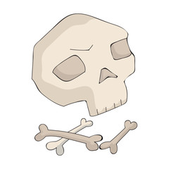 Human ancient bones icon in cartoon style isolated on white background. Stone age symbol stock vector illustration.