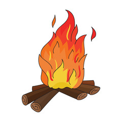Campfire of stone age icon in cartoon style isolated on white background. Stone age symbol stock vector illustration.