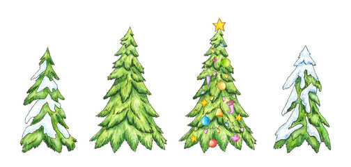 Christmas trees. Cartoon Pines in snow. Watercolor illustration