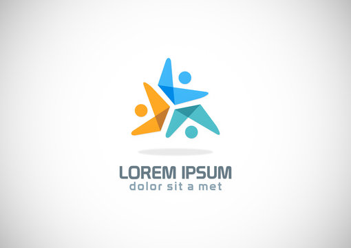 three people circle colored logo