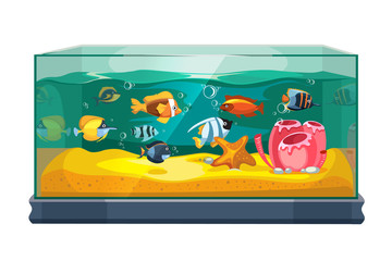 Cartoon freshwater fishes in tank aquarium vector illustration