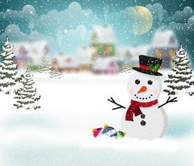 Winter village and snowman