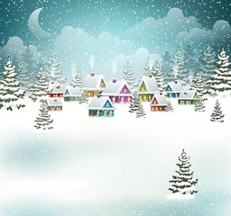 Evening winter village