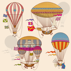Vintage air balloon vector set