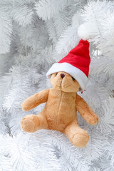 Teddy bear wearing a santa hat isolated on white Christmas tree