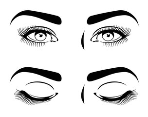 Close and open eyes of beautiful woman, long eyelashes. cosmetic model vector set