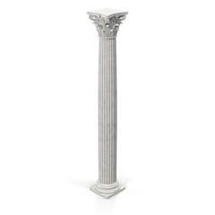 Corinthian Order Column on white. 3D illustration