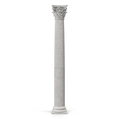 Corinthian Order Column on white. 3D illustration