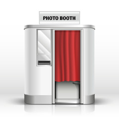 Photo quick service vending machine, booth vector illustration