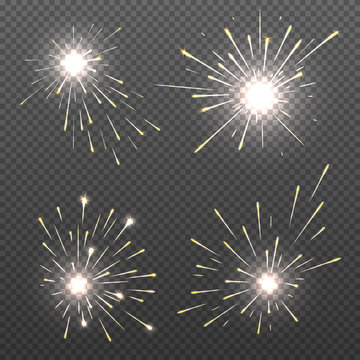 Magic spark effects, burning bengal lights, sparkler fire vector set