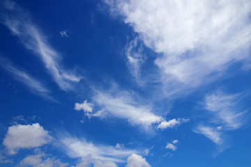 Beautiful white clouds with blue sky background