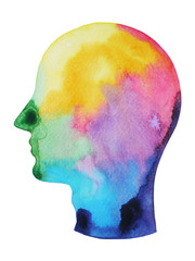 man head, chakra power color colorful abstract thinking, world universe inside your mind watercolor painting