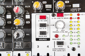 Sound music mixer control  panel. Mixer, sequencer. Background