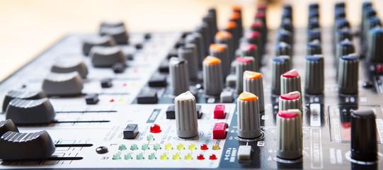 Sound music mixer control  panel. Mixer, sequencer. Background
