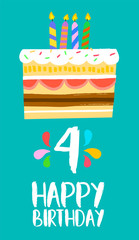 Happy Birthday cake card for 4 four year party