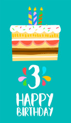 Happy Birthday cake card for 3 three year party