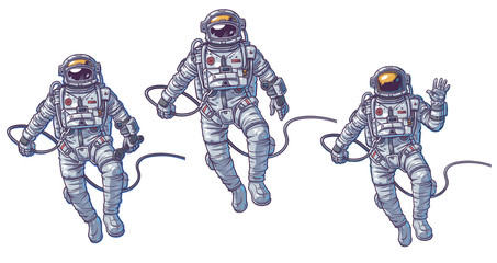 Vector set of illustrations cosmonauts
