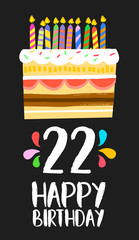 Happy Birthday cake card 20 twenty two year party