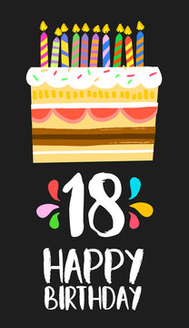Happy Birthday cake card 18 eighteen year party