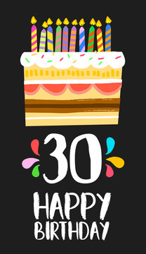 Happy Birthday card 30 thirty year cake