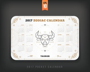 Taurus 2017 year zodiac calendar pocket size horizontal layout White color design style vector concept illustration