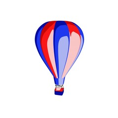 Hot air balloon. Isolated on white background. Cartoon style.