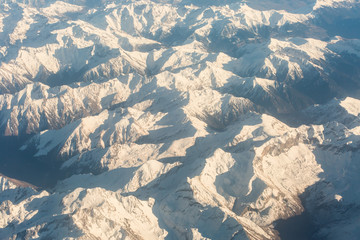 breathtaking aerial view of mountains covered with snow