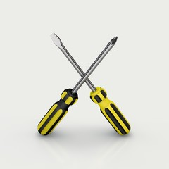 Crossed screwdriver. Isolated on white background.3D rendering i