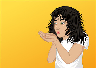 Happy girl blowing something from her hands. Vector. Copy space