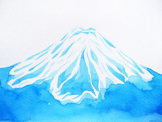 Top of the mountain watercolor painting on paper, hand drawing