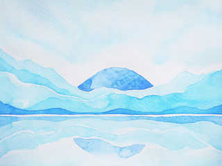 abstract mountain hill, sky and water space landscape, watercolor painting
