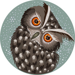 Cold Owl, Eagle-Owl bird looking sideways in the winter during a snowfall, a bit angry, with ruffled feathers, round green gray badge with snowflakes background, crystal snowball idea, hand drawn card