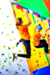 Indoor climbing colorful illustration