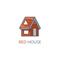 Single red house logo. Vector illustration