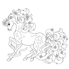Horse with flowers and bows. Vector Coloring anti stress. Coloring book isolated