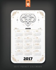 Aries 2017 year zodiac calendar pocket size vertical layout White color design style vector concept illustration