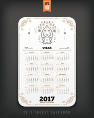 Virgo 2017 year zodiac calendar pocket size vertical layout White color design style vector concept illustration
