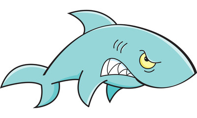 Cartoon illustration of an angry shark.