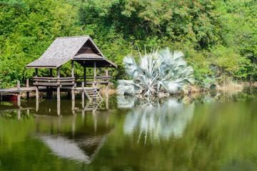 Beautiful scenery of pavilion beside the lake