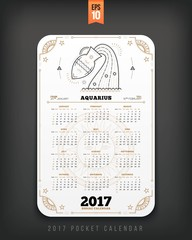 Aquarius 2017 year zodiac calendar pocket size vertical layout White color design style vector concept illustration