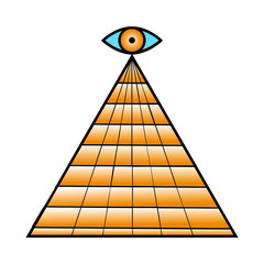 All seeing eye pyramid symbol. Freemason and spiritual.  design