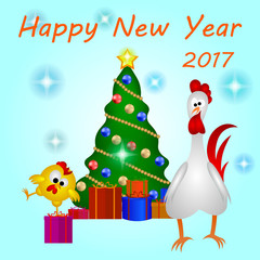 Cock with chicken, greeting the new year 2017 card with Christma