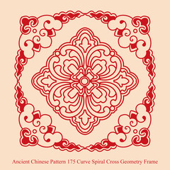 Ancient Chinese Pattern of Curve Spiral Cross Geometry Frame
