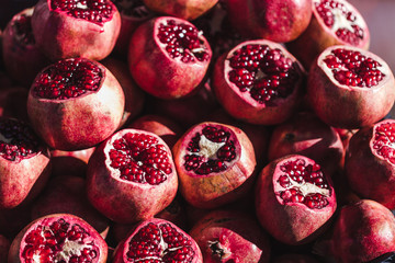 Fresh pomegranates for juice market in Turkey, fruit background
