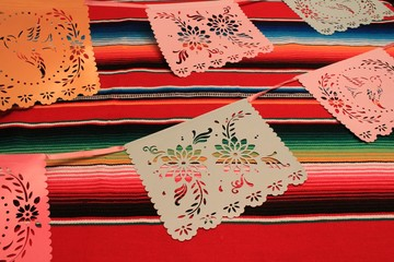 Cinco de mayo Mexican Papel Picado Paper Bunting poncho sombrero background Mexico fiesta decoration bunting flag stock, photo, photograph, image, picture,