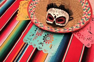 poncho sombrero cinco de mayo background mexican mexico fiesta serape cinco de mayo decoration bunting papel picado stock, photo, photograph, image, picture