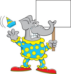 Cartoon illustration of an elephant dressed as a clown and holding a sign.