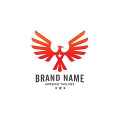 eagle Vector with star logo ,  eagle bird,  hawk logo illustration, phoenix and star logo concept