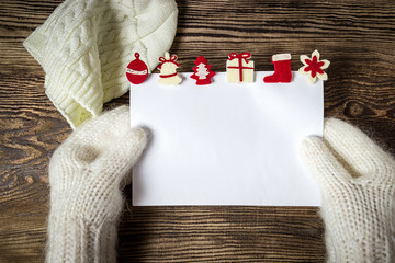 Christmas banner. Letter to Santa Claus. Wish list. Winter background.