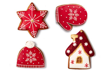 Set of the нomemade gingerbread, isolated on a white.